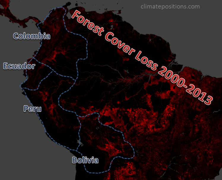 Climate change performance of Ecuador, Bolivia, Colombia and Peru