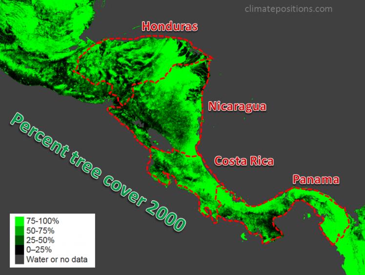 Climate change performance of Panama, Honduras, Costa Rica and Nicaragua