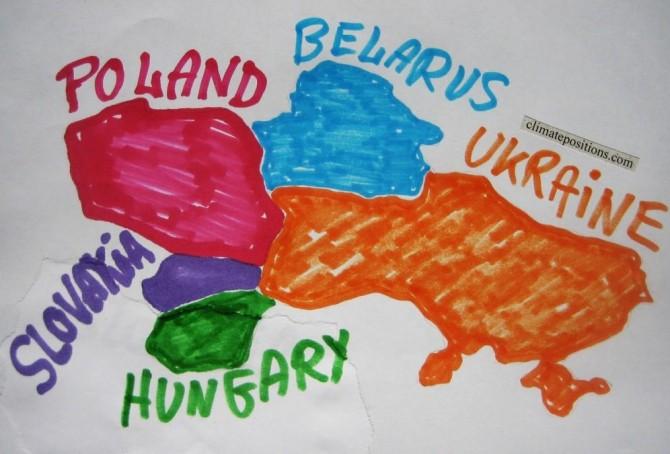 Climate change performance of Slovakia, Poland, Hungary, Belarus and Ukraine