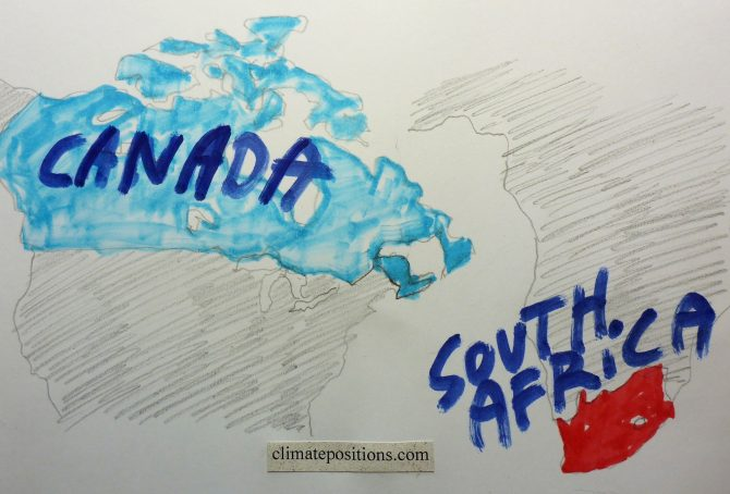 Climate change performance: Canada vs. South Africa
