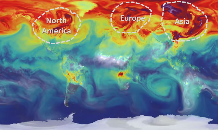 NASA video showing one year of carbon dioxide emissions swirling in the atmosphere