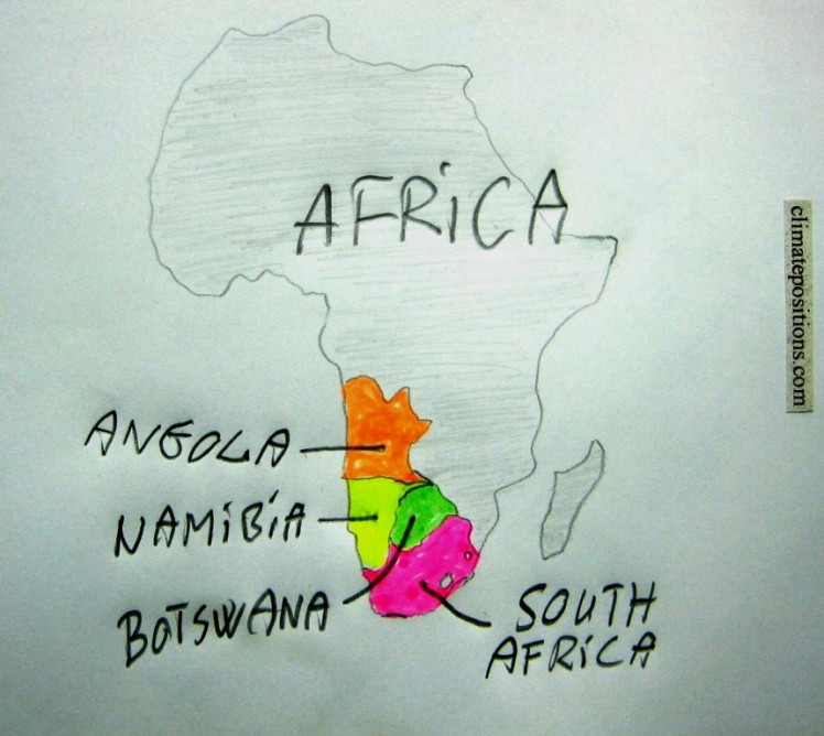 Climate change performance of South Africa, Botswana, Angola and Namibia
